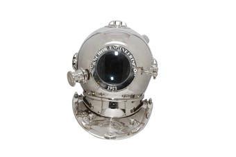 Large Deep Sea Diving Helmet In Chrome