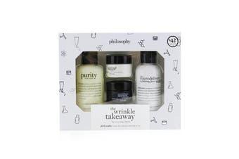 Philosophy The Wrinkle Takeaway Set: Line-Correcting Moisturizer 15ml +  Line-Correcting Overnight Cream 15ml + Facial Cleanser 120ml + Micro-Exfoliating Wash 120ml 4pcs