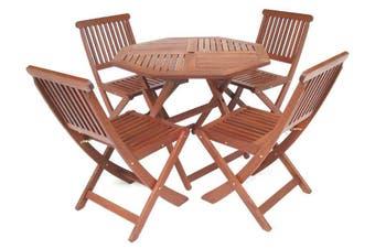 Tropical Octagonal 5 Piece Folding Outdoor Dining Set