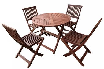 Tropical Round 5 Piece Folding Outdoor Dining Set