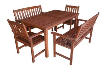 Malay 1.5m 5 Piece Outdoor Dining Set with Arm Bench