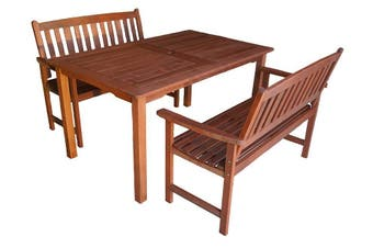 Malay 1.5m 3 Piece Outdoor Dining Set with Arm Bench