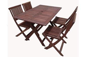 Island 5 Piece Rectangular Folding Outdoor Dining Set