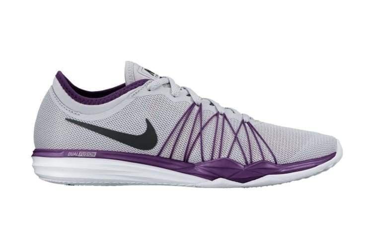 Nike Women's Dual Fusion TR HIT Training Shoe (Grey/Grape) - US 5.5