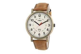 TIMEX - CLASSIC ROUND ANTIQUE GOLD TAN WATCH