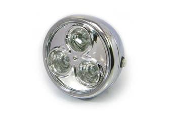 "Metal Motorcycle Chrome 6.75"" LED Chrome Headlight Honda Yamaha Suzuki Motorbike"