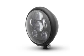 Matte Black Bates Style Six Projector LED Motorcycle Headlight Custom Project