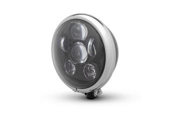 Gloss Black / Chrome Bates Style Six Projector LED Motorcycle Headlight
