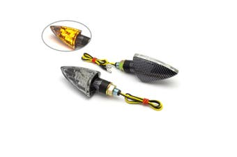Custom Carbon Arrowhead Clear Motorcycle LED Indicators Turn Signals Blinkers