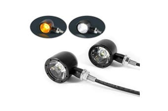Classic Black Motorcycle LED Integrated Indicator Daytime Running Lights