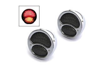 CHROME Pair of Classic Style LED Motorcycle Stop/Tail with Indicator Lights