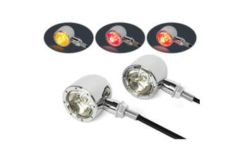 Classic Chrome Motorcycle LED Integrated Stop Tail Indicator Lights Custom Bike