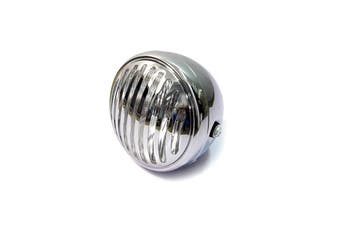 Prison Grill Slotted Headlight Head Lamp CHROME H4 Motorcycle Bobber Cafe Racer