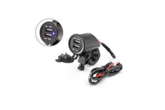 "Motorcycle Handlebar Mount Twin USB Power Supply Socket - 22mm 7/8"" - 25mm 1"""