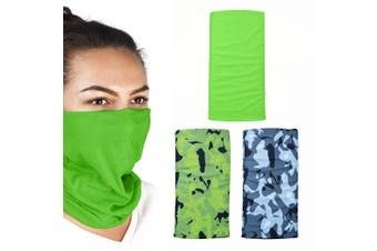 Oxford Comfy 3 Pack Havoc Green Head Neck Windproof Face Mask Weather Protection