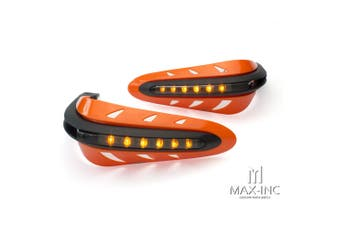 Integrated LED Orange Handguards Turn Signal Indicators Motorcycle Quad Bike