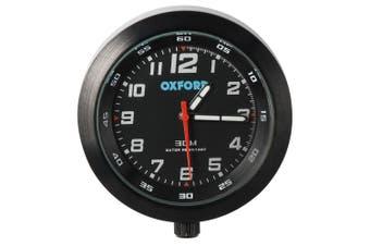 Oxford OX559 Motorcycle Scooter Analog Water Resistant Metal AnaClock Black