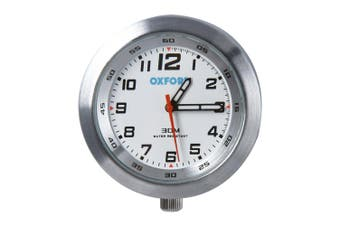 Oxford OX559 Motorcycle Scooter Analog Water Resistant Metal AnaClock Silver