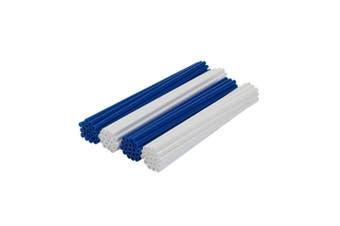 BLUE AND WHITE Wheel Spoke Skin Cover Wrap Kit for Motorcycle Dirt Sports Bike