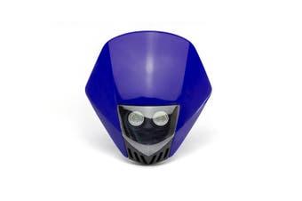 Blue Motorcycle Stealth Supermoto LED Headlight Mask Custom Project Motorbike