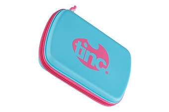 Two-Colour Hard Top Pencil Case : Blue With Pink Zip