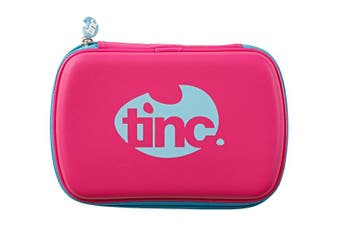Two-Colour Hard Top Pencil Case : Pink With Blue Zip