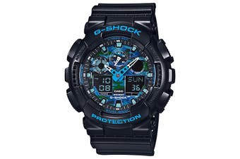 Casio G-Shock Analogue/Digital Black/Blue Extra-Large Mens Watch GA100CB-1A GA-100CB-1ADR