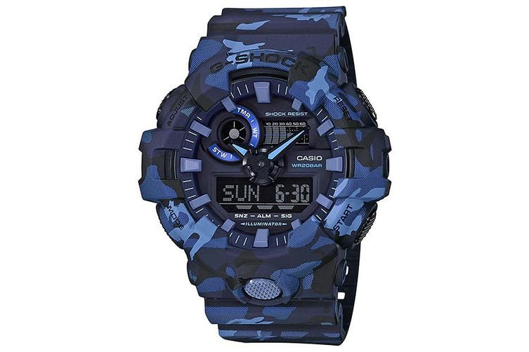 Casio G-Shock Blue Camouflage Mens Analogue/Digital Watch GA700CM-2A GA-700CM-2A
