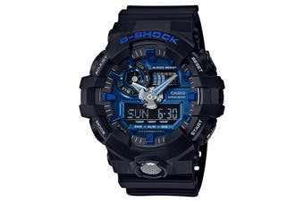 Casio G-Shock Analogue/Digital Mens Black/Blue Watch GA710-1A2 GA-710-1A2DR