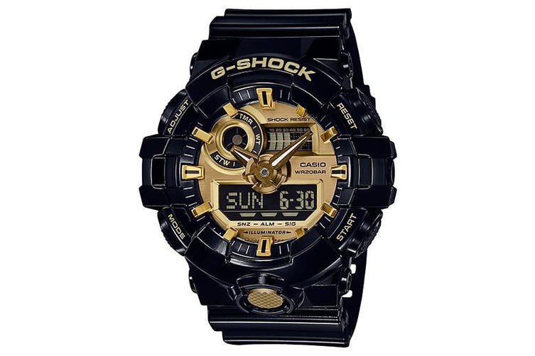 Casio G-Shock Analogue/Digital Mens Black/Gold Watch GA710GB-1A GA-710GB-1A