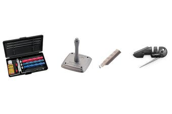 Lansky Standard Sharpening System + Universal Mount + Medium Serrated Hone LSMRT + Lansky Blademedic Pocket Sharpening Kit