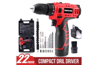 12V Li-Ion Cordless Drill Driver Kit Rechargeable w/ Battery Charger Bits Socket