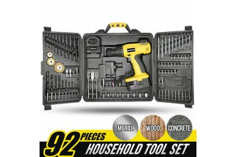 MasterSkil 92 PC Power Tool Kit 18V Cordless Drill Screw Flap Bits Sockets Set