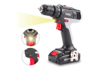 TOPEX 20V Max Lithium Ion Cordless Drill Driver Screwdriver with Battery Charger