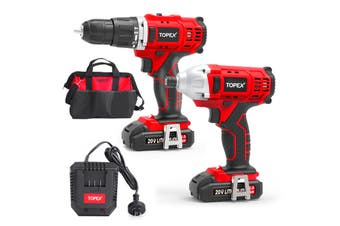 TOPEX 20V Cordless Impact Drill Driver Combo Kit w/ 2 Batteries Charger Tool Bag
