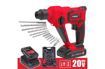 TOPEX 20V Max Lithium Cordless Rotary Hammer Drill Kit w/ Battery Charger Bits