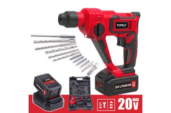TOPEX 20V MAX 3.0Ah Lithium Cordless Rotary Hammer Drill Kit w/ Battery Charger Bits (Two Batteries)