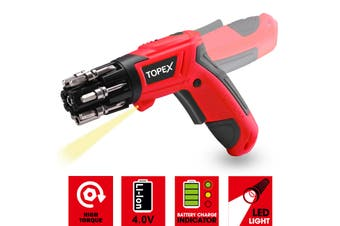 TOPEX 4V Max Lithium Cordless Electric Screwdriver w/ Built-in Bit Pivoting Body