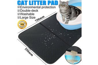 Waterproof Double-Layer Cat Litter Mat Trapper Foldable Pad Pet Rug Home L Size