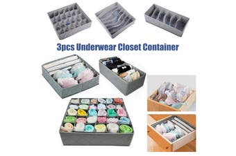 3PCS Storage Drawer Divider Solution Box Organiser Tidy Socks Bra Underwear