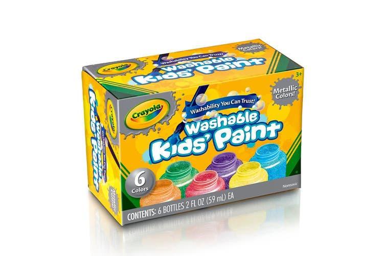 Crayola Washable Metallic Paint - 6 Pack