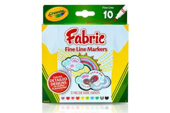 Crayola Fine Line Fabric Markers - 10 Pack