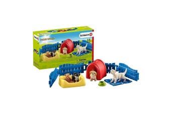 Schleich Farm World Puppy Pen Toy Figure Set