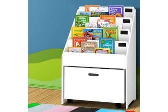Five Tier Kids Wooden Bookshelf in White