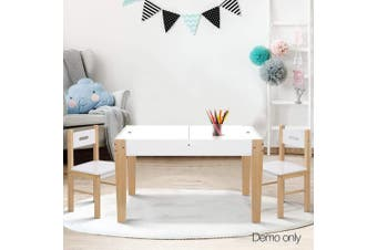 Two Tone Kids Table and Chair Storage Desk - White & Natural