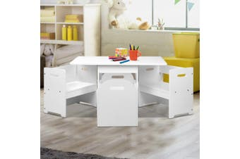 Kids Table and Chair Set in White
