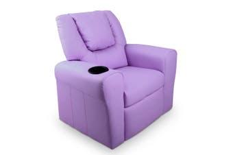 Kid's PU Leather Reclining Arm Chair - Purple