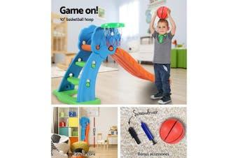 Kids Slide Outdoor Indoor Playground with Basketball Hoop