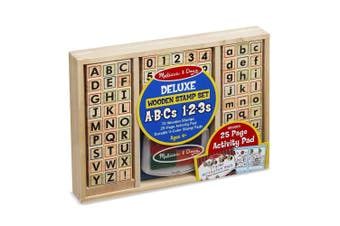 Melissa and Doug Wooden Deluxe ABCS 123s Activity Stamp Set