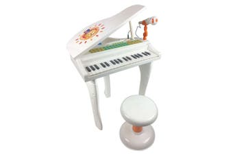 Kids Electric Grand Piano in White with MP3 functions